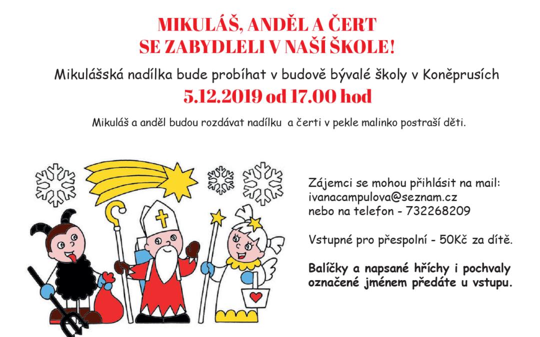 Mikuláš, čert a anděl se zabydleli v naší  ve škole – 5. 12. 2019 od 17.00 hod